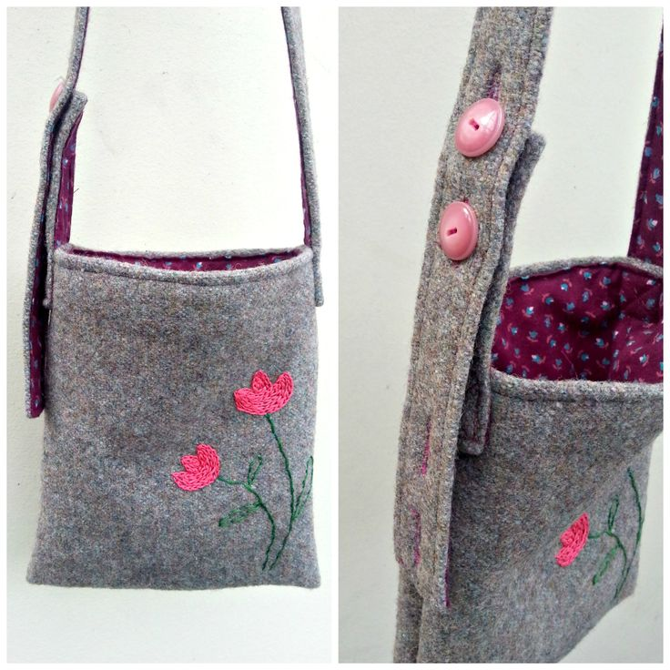Foraging  bag for littlies to collect treasures and carry their toys. Adjustable strap. Made of recycled wool and fabric.  Custom order.  https://cherryberry.felt.co.nz