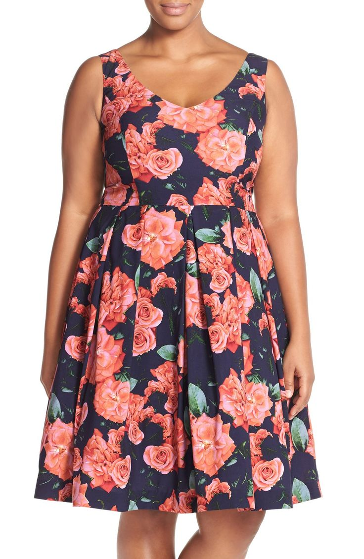City Chic 'Rosey Posey' Floral Fit & Flare Dress (Plus Size)