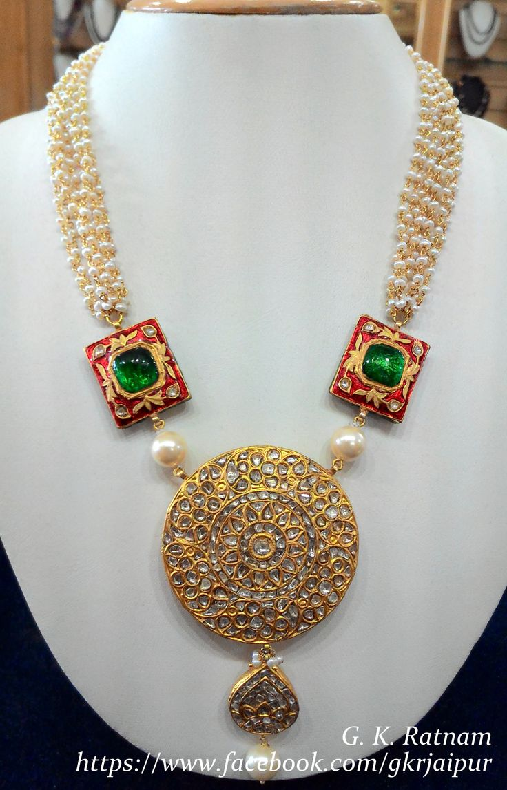 22 carat gold floral designer pendant with multiple beads chain and - Sheer Elegance Kundan Meena Pendant Set With Pearls