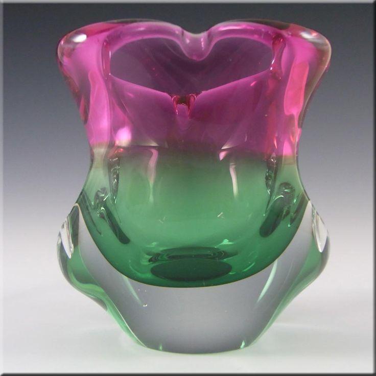 Chribska Czech Pink & Green Glass Organic Sculpture Vase - £29.99
