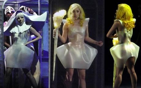 Scots designer Rachael Barrett reveals inspiration behind rubber dress creation for Lady Gaga.