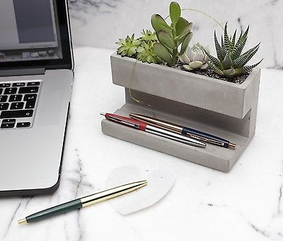 Kikkerland Large Concrete Desktop Planter & Pen Pencil Holder Office House Plant in Garden & Patio, Plant Care, Soil & Accessories, Baskets, Pots & Window Boxes | eBay
