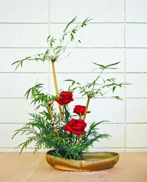 Red Roses and Japanese Maple Leaves, Ikebana Floral Arrangement.  BGou_1_21_2011