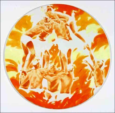 Norbert Bisky, Höllensturz II, 2004. Huile sur toile. Diam. 60 cm.