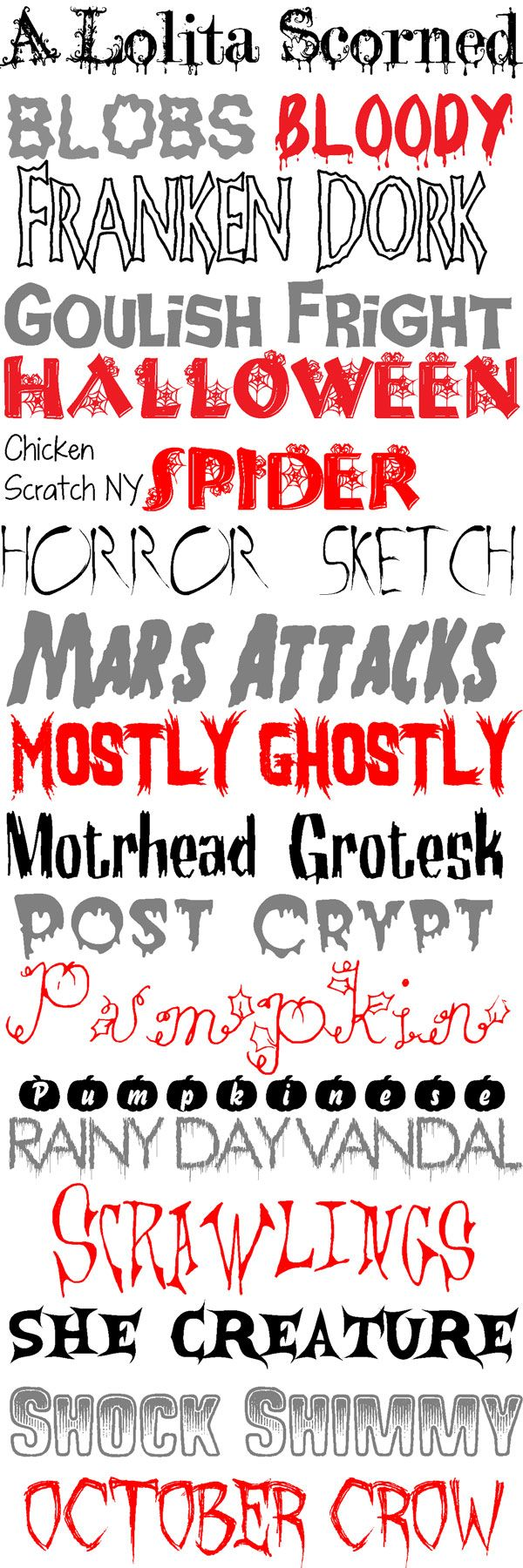 I love Halloween! It's my favorite holiday and now that the wedding is over (you will get pictures as soon as I do!) I can focus on my love off all things spooky, creepy and a little kooky. Here are some fonts to help you out with your Halloween projects: A Lolita Scorned, Blobs, Bloody, …