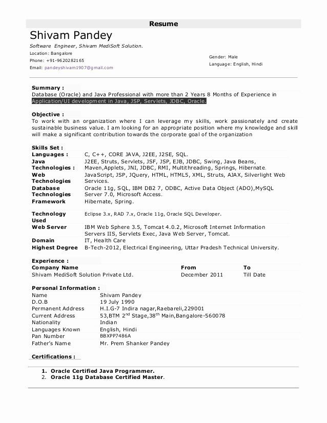 5 Years Experience Resume Format Resume Software Sample Resume