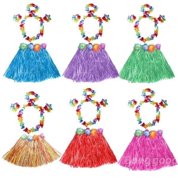 Girls Hawaiian Grass Skirt Flower Hula Lei Wristband Garland fancy Dress - US$4.88
