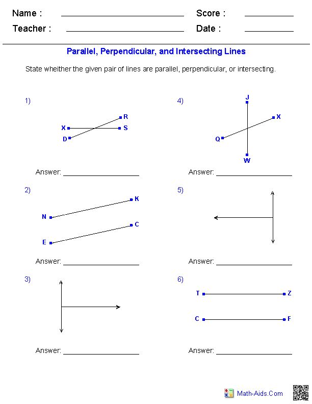 Identifying Parallel, Perpendicular, and Intersecting Lines Worksheets | MathAidsCom