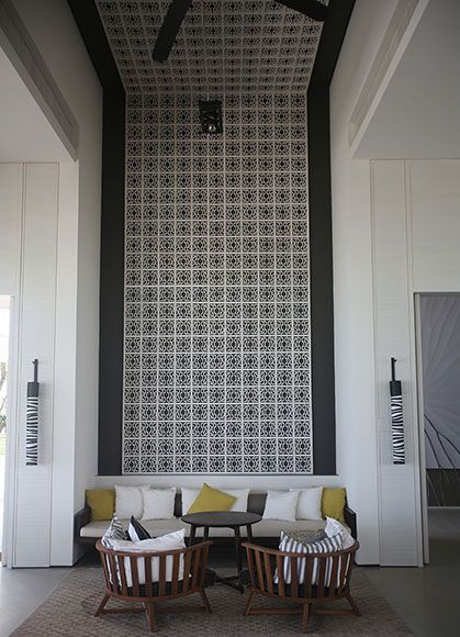 tiled accent wallceiling