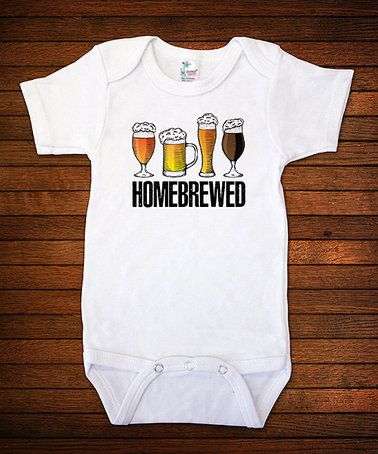 $10.99 marked down from $20! White 'Homebrewed' Bodysuit - Infant #funny #baby #infant #beer #homebrew #craft #ipa #zulily! #zulilyfinds