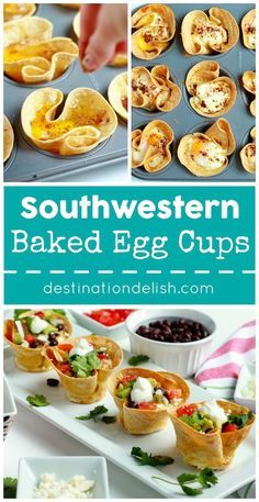 Southwestern Baked Egg Cups - crunchy tortilla cups filled with a drippy baked egg and all your favorite taco fixings
