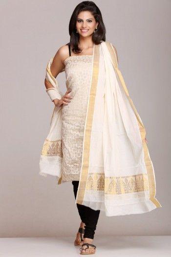 #Off-white #dupatta with rich #golden #zari border on www.indiainmybag.com/the-maku-brahmaputra-looms.html