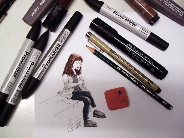 """Street #doodle: """"The girl with the cell phone"""". #Pencil and #markers."""
