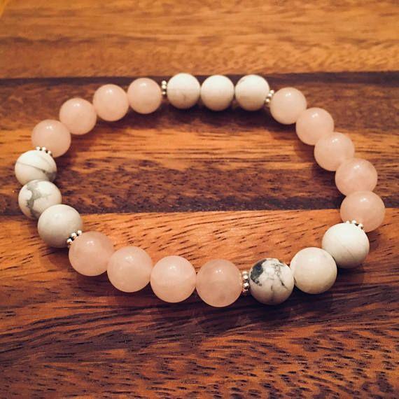 Natural Howlite & Rose Quartz Spacer Beaded Bracelet / Bead