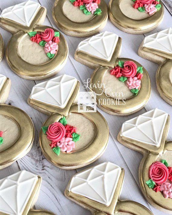 Diamond Ring Decorated Sugar Cookies 1 Dozen Wedding Favor Sugar Cookies Decorated Bridal Shower Cookies Cookie Decorating