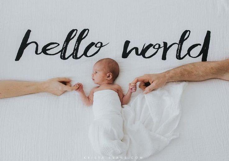 Organic Cotton Muslin Swaddle Blanket  Hello World  #Blanket #Cotton #Muslin #