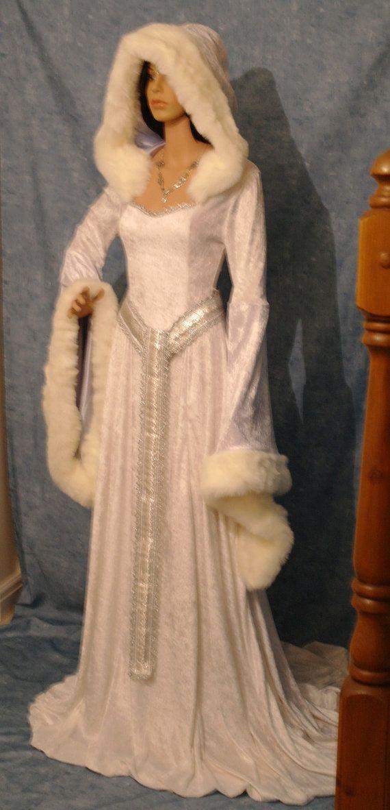 medieval renaissance snow queen ELVEN FAIRY dress Narnia