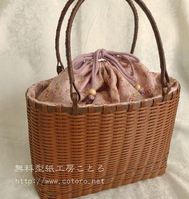 作り方☆カゴバッグに巾着袋のような口をつける☆エコクラフト : 無料型紙工房ことろ kamiband tutorial