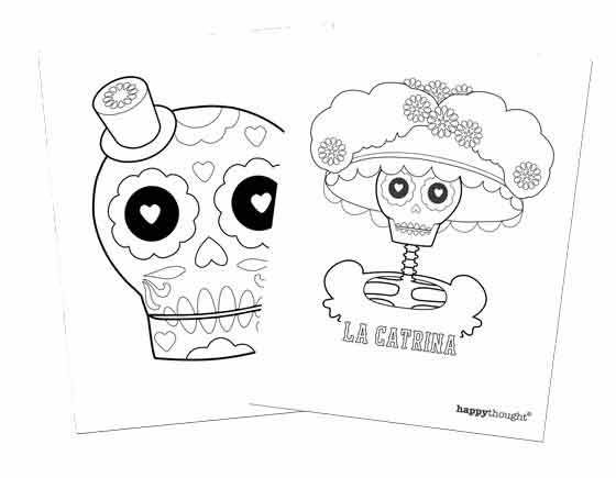 Happythought Day of the Dead calavera and catrina coloring in sheets. Dia de los Muertos activity ideas! #dayofthedead #crafts https://happythought.co.uk/day-of-the-dead/activity-table