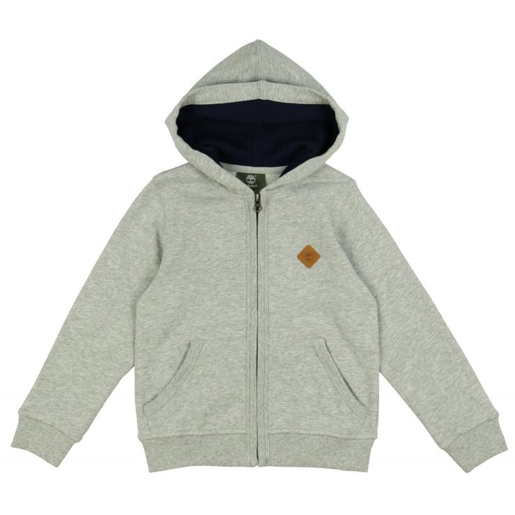 Boys Grey Hoodie with Brown Leather Logo Plaque. Now available at www.chocolateclothing.co.uk