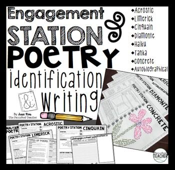Engagements Station: Poetry Writing is a FUN and ENGAGING way for your students to interact with different types of Poetry! Students will work in SMALL GROUPS to create:*Acrostic Poetry*Limerick Poetry*Cinquain Poetry*Diamonte Poetry*Haiku Poetry*Tanka Poetry*Concrete Poetry*Autobiographical PoetryStudents will receive an anchor chart and will be able to complete a mix and match activity that defines/gives examples for each type of poetry!