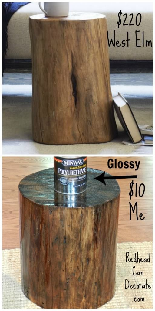 Dead Tree Stump From Our Yard Becomes End Table by redheadcandecorate.com