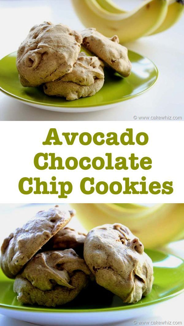 Healthy, oil-free AVOCADO CHOCOLATE CHIP COOKIES. Sugar-free option included. These cookies look like poofy little clouds and won't rest on your hips forever ;) From cakewhiz.com