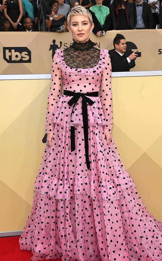 Kate Hudson from Standout Style Moments at SAG Awards 2018 Kudos to the actress for taking a chance on a lace, pink, polka-dot dress with high neckline.