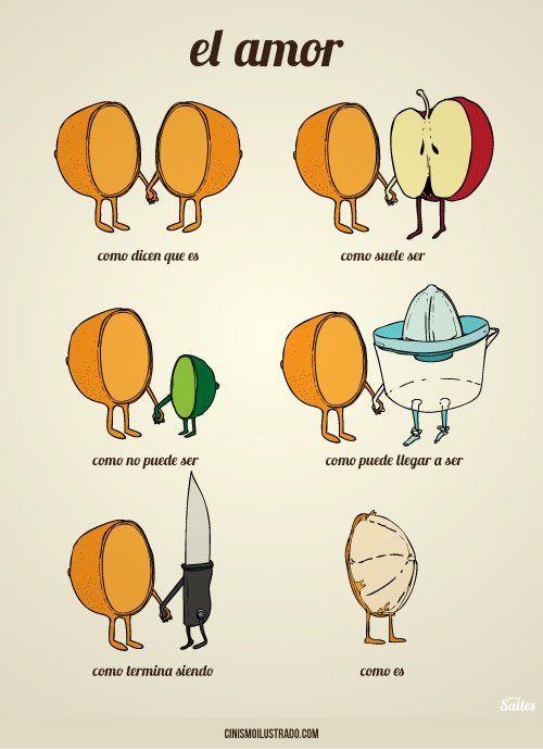 Medias naranjas.  (No sé si es cómico o si es pesimista y triste.)