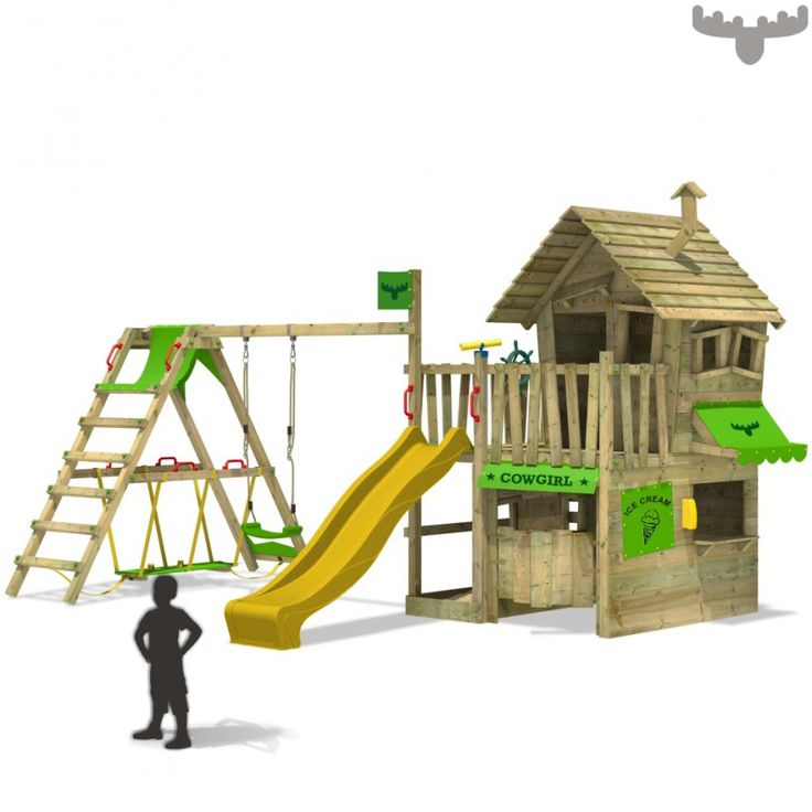 Maisonnette de jeux avec balançoire, aire de jeu de haute qualité dans la boutique FATMOOSE, bon marché, fiable et sans frais de port ! Plaisir garanti!