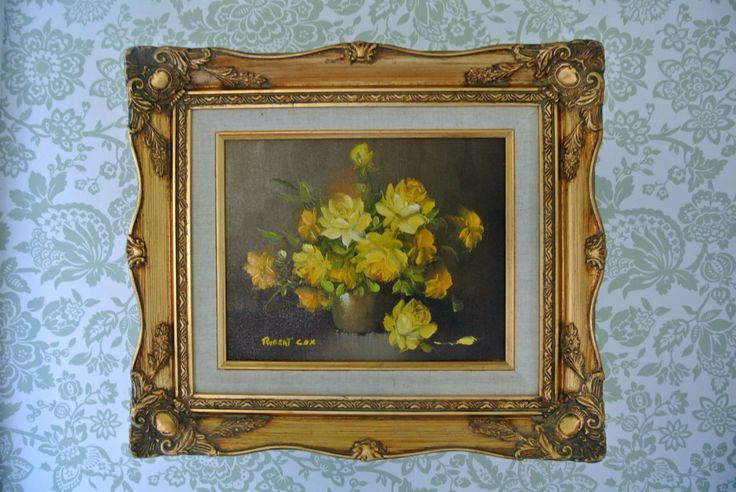 ORIGINAL Robert Cox Oil on Canvas Painting-Signed-Yellow Roses-Gilded Frame by LongTallSallys on Etsy