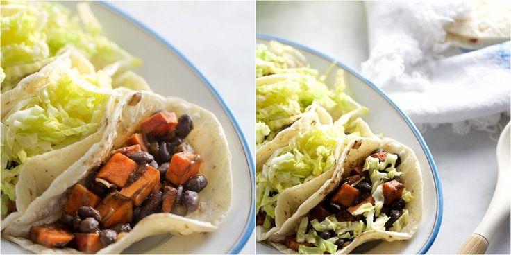 Tacos de camote (batata) y frijol negro, los mejores