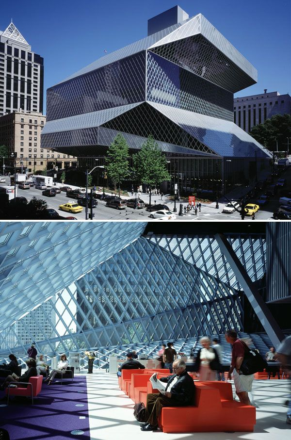 Central Library, designed by Rem Koolhaas and Joshua Prince-Ramus of OMA/LMN, Seattle