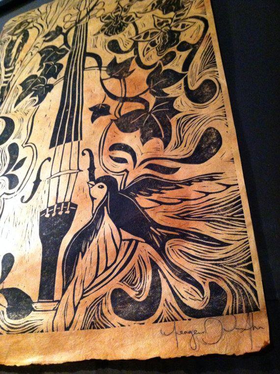 El Carpintero/The Woodpecker  Linocut Print 16x20 by meagandvanahn, $45.00
