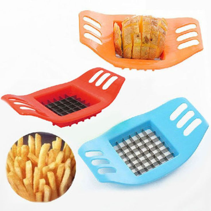 Vegetable Slicers Potato Cutter Portale Stainless French Fry Potato Chip Cutter Vegetable Slicer Chopper Blade Color Randomly