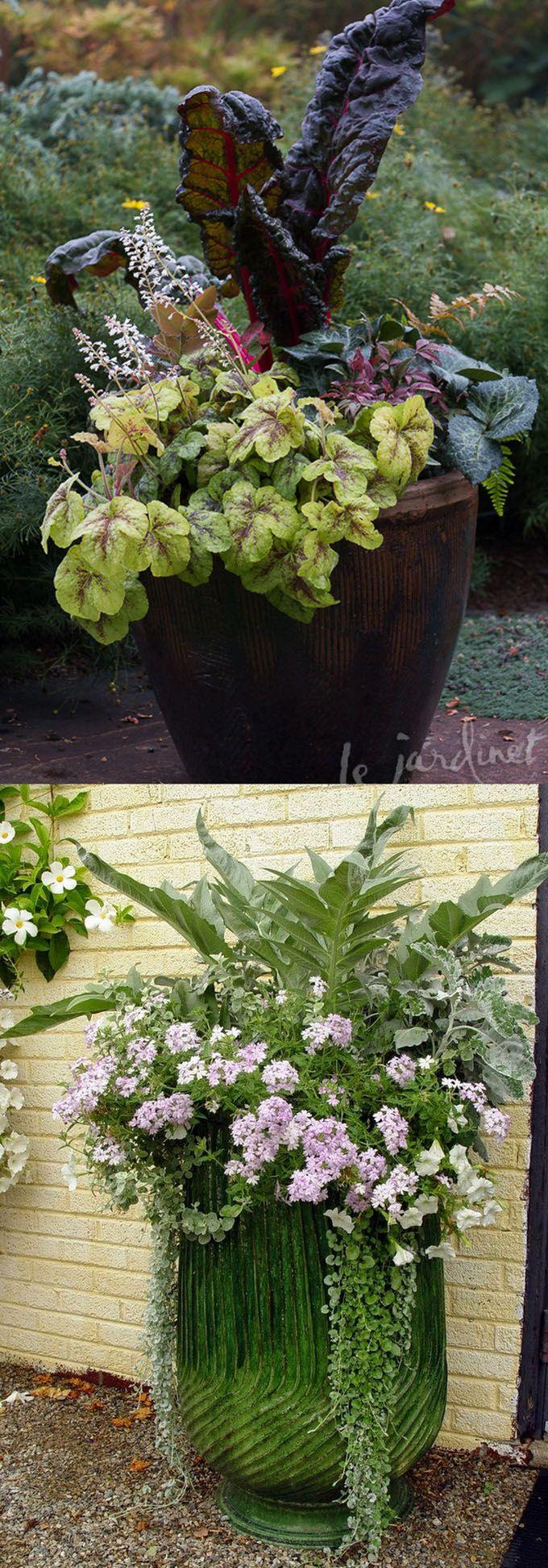 24 stunning container garden designs with plant list for each! Learn the designer secrets to these beautiful planting recipes. - A Piece Of Rainbow http://www.apieceofrainbow.com/container-garden-planting-designs/
