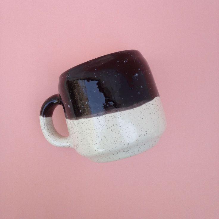 handcrafted ceramic, rustic mug, black and ecru