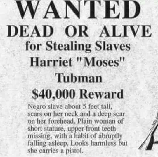 "HARRIET TUBMAN. One of my heroes. Harsh reminder of real life for her. Love it tho that she ""looks harmless"" but packs a pistol."