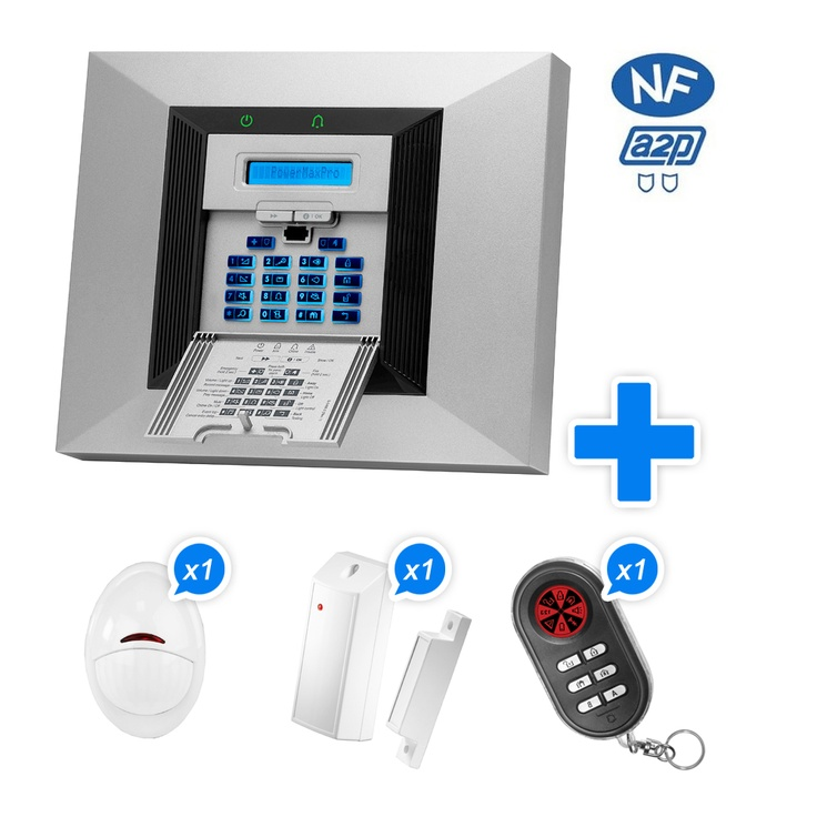 Alarme de maison Visonic PowerMax Pro - Kit 1 - contenu du pack : 1 centrale d'alarme PowerMax Pro 1 détecteur d'ouverture VISONIC MCT-302 1 détecteur de mouvement VISONIC NEXT K9-85 MCW Animaux 1 télécommande VISONIC MCT-237 1 kit de fixation Batteries adaptées