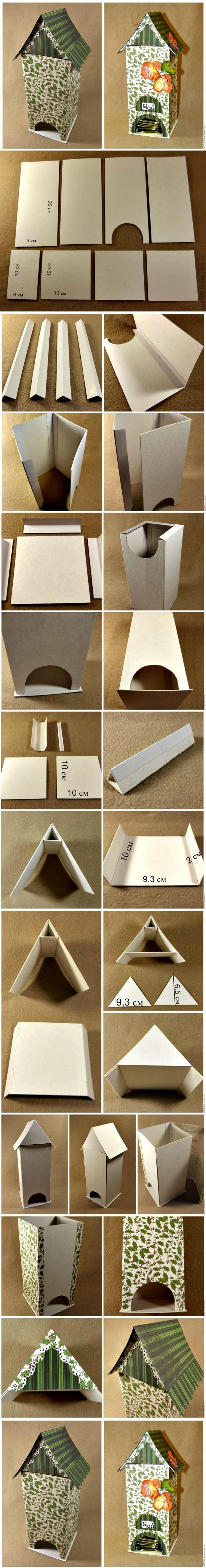 DIY Bird House Shaped Cardboard Tea Bag Dispenser | iCreativeIdeas.com