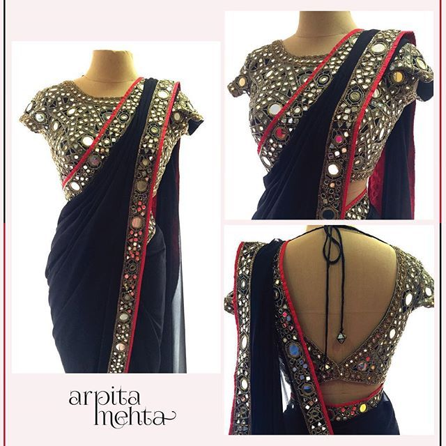 The classic Black & Gold sari and blouse #arpitamehta #webemboridery #festivewear #sari #mirrorwork #mirrorblouse