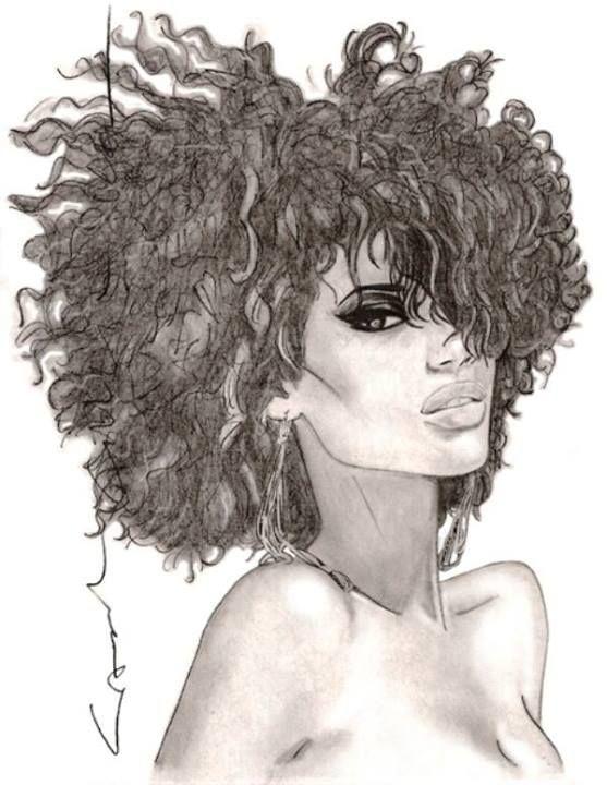 pencil drawing of black woman