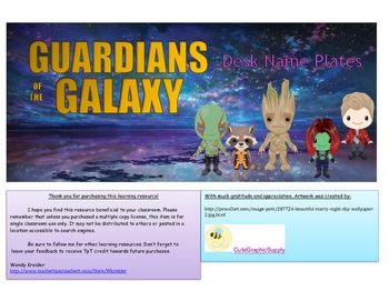 Guardians of the Galaxy desk name plates would make a great addition to your super hero themed classroom! Each desk name plate displays one of your favorite characters:-Groot-Rocket the Racoon-Star Lord-Gamora-DraxUse these as name plates for your students desks, use them as passes for the bathroom, office, nurse, or guidance counselor.