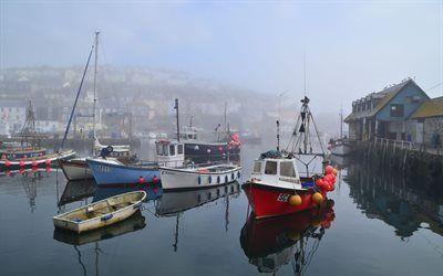 Scarica sfondi mattina, barche, cornovaglia, nebbia, inghilterra