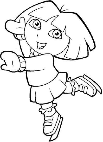 dora the explorer in the snow coloring pages - Colouring Sheets For Toddlers