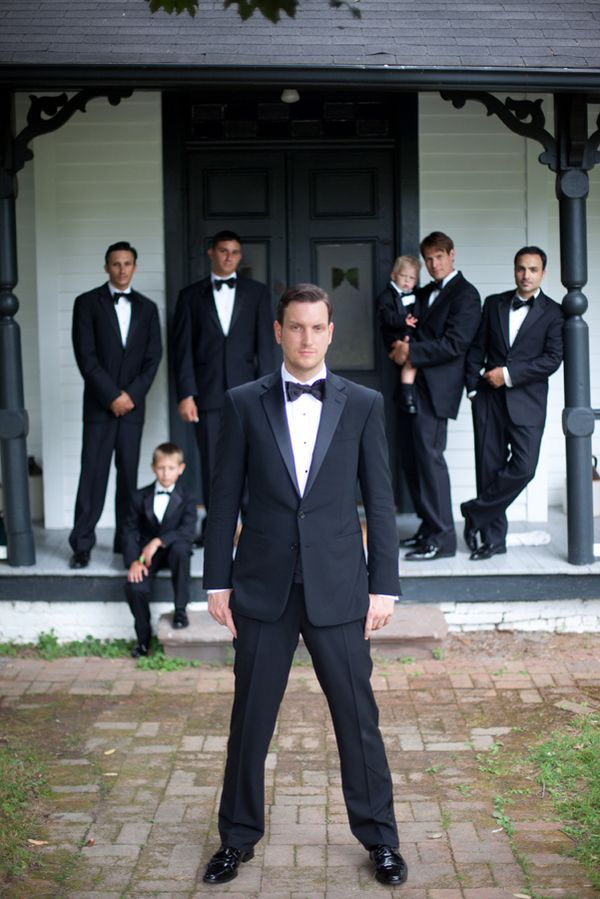 groomsmen and kids with groom
