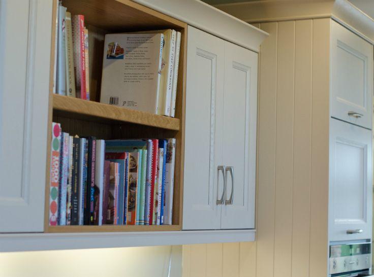 Oak book shelf. Kitchen done by Newhaven Kitchens Carlow.