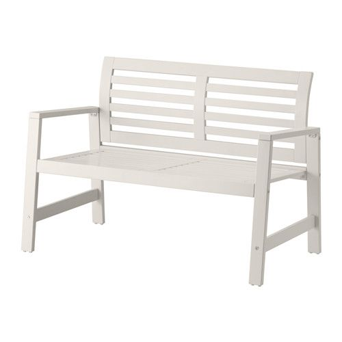 IKEA - ÄPPLARÖ, Bench with backrest, outdoor, white,  , , The curved back ensures that you sit comfortably.You can make your bench more comfortable and personal by adding a pad in a style you like.For added durability and to make the furniture look new and fresh longer, it has been pre-treated with several layers of opaque paint which coats the surface with a thick and protective film.