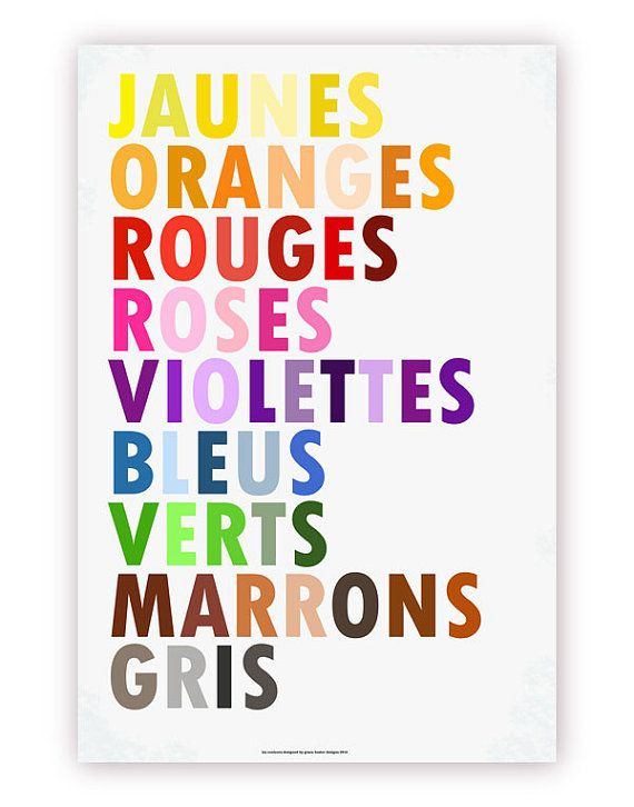 Colors in French Poster Les Couleurs Large by gracehesterdesigns, $40.00