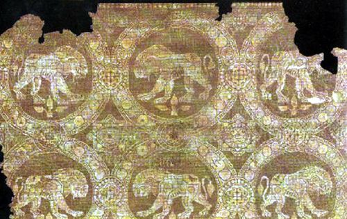 lion passing motif Sassanian cloth 7th-8th c by julianna.lees, via Flickr